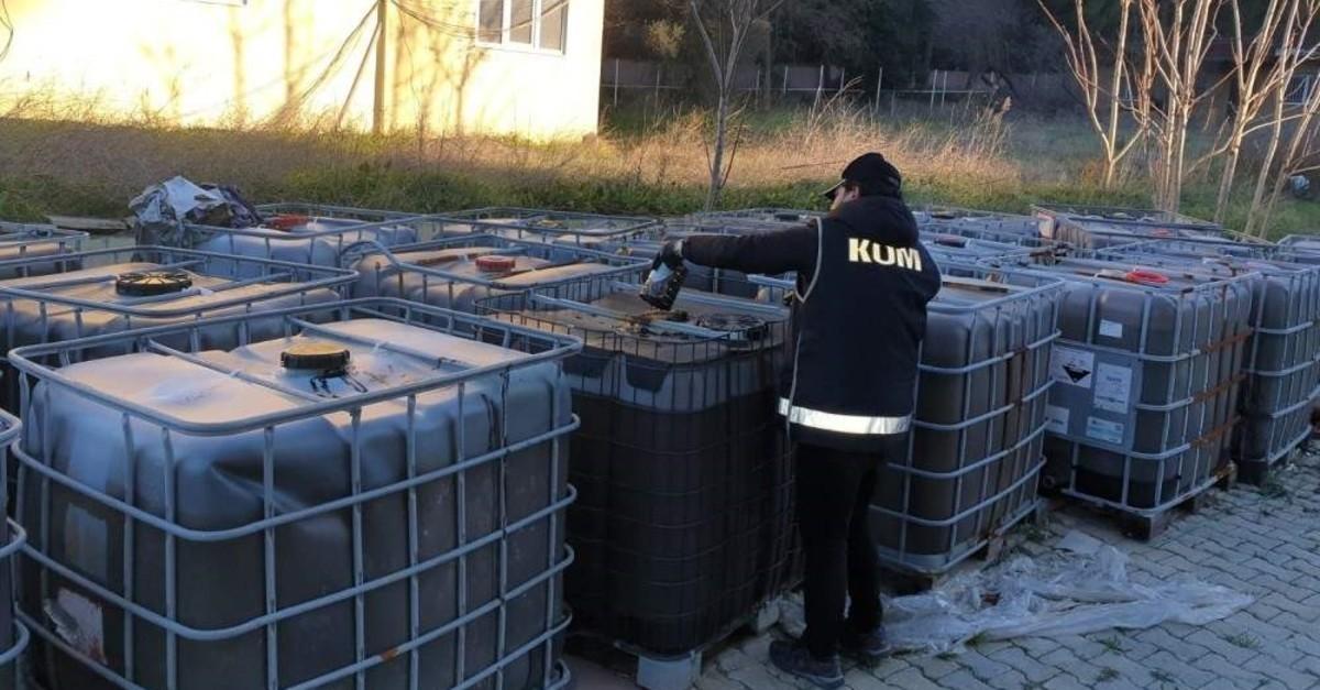 A policeman checks seized fuel, Jan. 13, 2020. (IHA Photo)