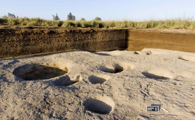 This undated photo released by the Egyptian Ministry of Antiquities, shows one of the oldest villages ever found in the Nile Delta, with remains dating back to before the pharaohs north of Cairo, Egypt. (Egyptian Ministry of Antiquities via AP)