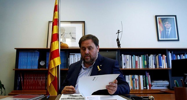 Catalan regional Vice President Oriol Junqueras attends an interview with The Associated Press in Barcelona, Spain, Wednesday, Oct. 25, 2017.