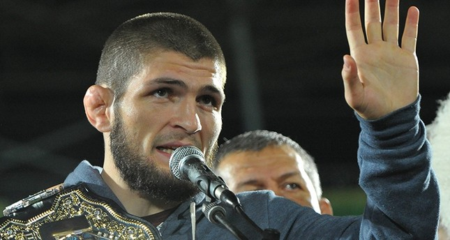 Russia's Khabib Nurmagomedov, UFC lightweight champion who defeated Conor McGregor of Ireland in the main event of UFC 229, speaks during the ceremony of honouring him at Anzhi Arena in Kaspiysk, Dagestan, Russia Oct. 8, 2018. (Reuters Photo)