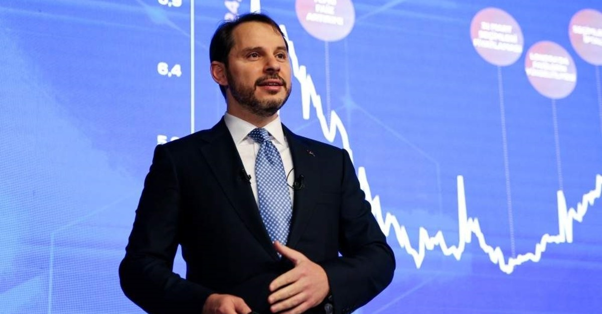Treasury and Finance Minister Berat Albayrak stressed that single-digit yields in two-year benchmark bonds is a reflection of successful implementation of risk-averting policies, in a statement on Twitter. (AA Photo)