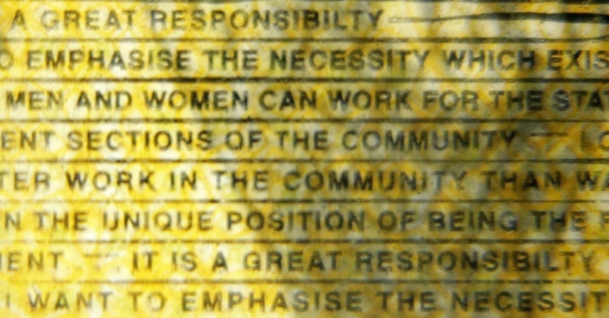 The word ,responsibility, is printed with a missing ,i, in the Australian $50 note photographed in Sydney, Australia, Thursday, May 9, 2019. (AP Photo)