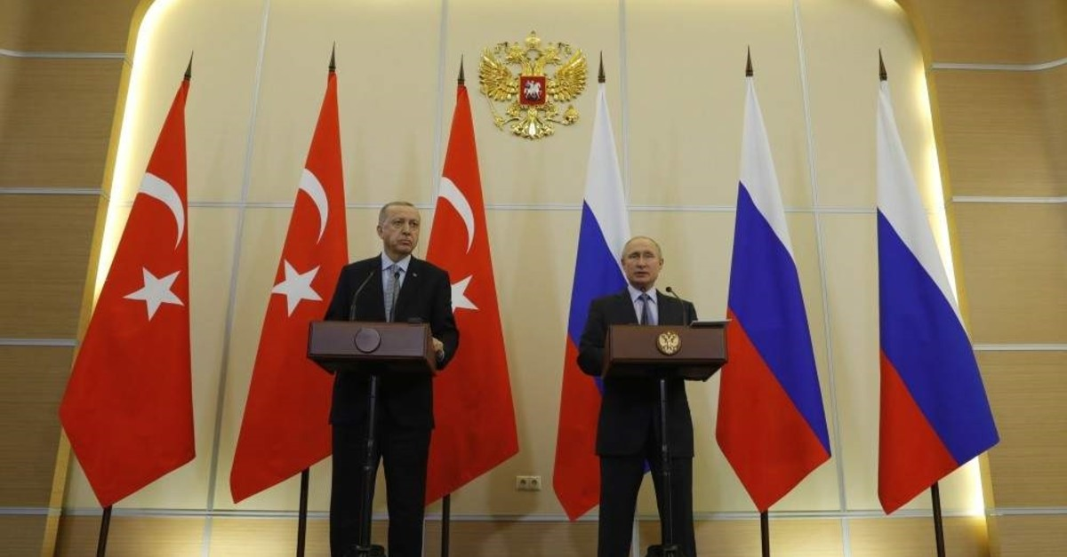 President Recep Tayyip Erdo?an (L) and Russian President Vladimir Putin at a joint news conference after their talks in the Bocharov Ruchei residence in the Black Sea resort of Sochi, Russia, Oct. 22, 2019. AP