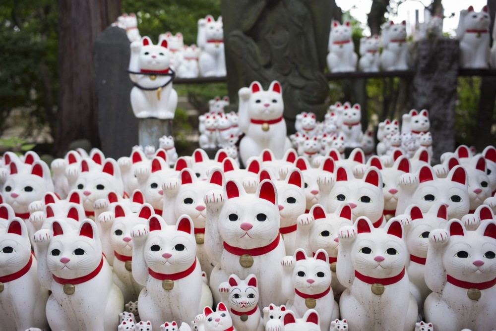 Image shows cat figurines called ,maneki-neko, at the Gotokuji temple in Tokyo