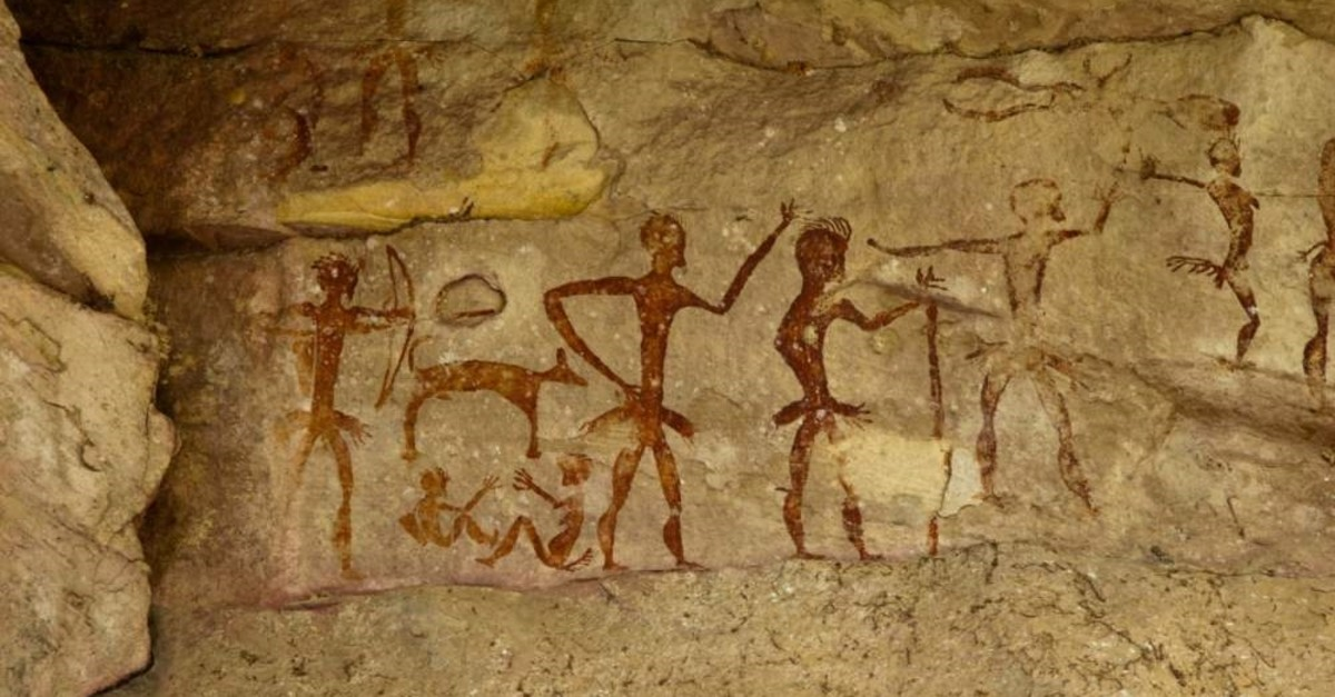 An archeological pre-historic human painting shows ancient humans from over 4,000 years ago in Nakhonratchasima, Thailand. (iStock Photo)