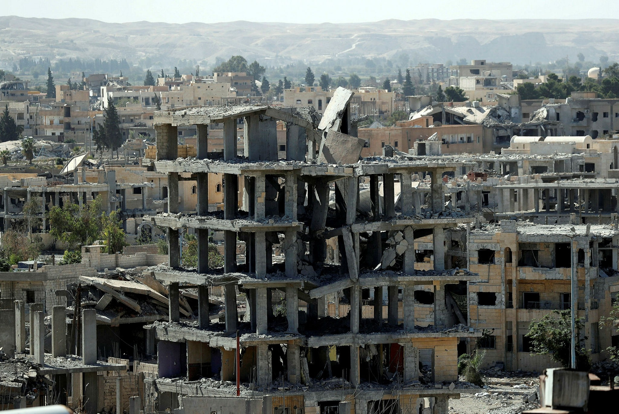 Destroyed buildings on the frontline in Raqqa, Syria, Oct. 16.