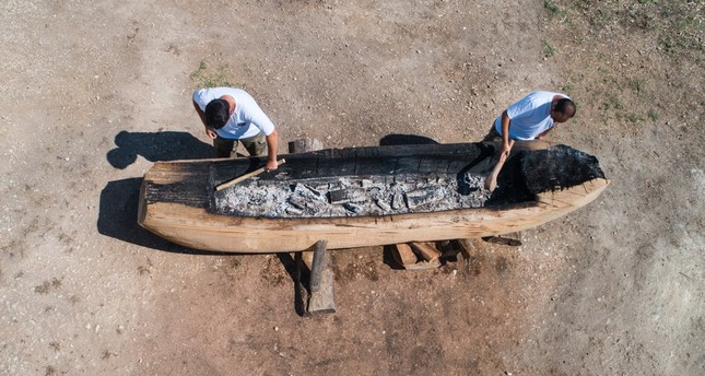 Primitive boat from Neolithic times to sail to Greek islands
