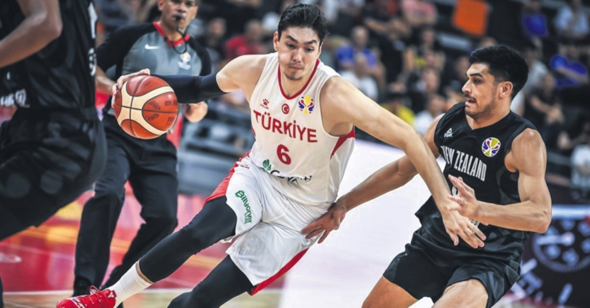 Cedi Osman (L) broke his international career-high record with 32 points in the World Cup game against New Zealand, Sept. 9, 2019.