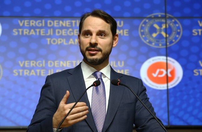 Treasury and Finance Minister Berat Albayrak delivers a speech during his address at the Turkish Tax Inspection Board in Ankara, Oct 31.