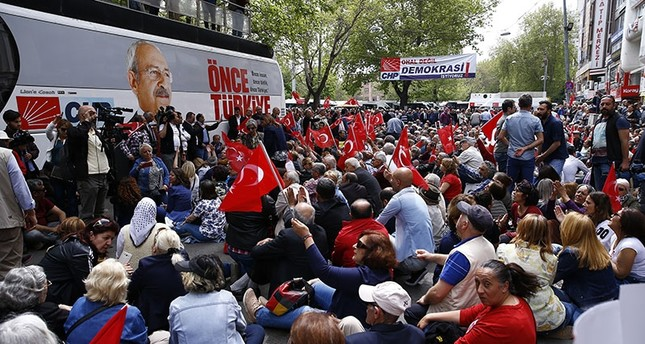 People gather for a sit-in protest organized by the main opposition Republican People's Party (CHP) in Güvenpark near the Kızılay Square in Ankara, on April 16, 2018. (AA Photo)