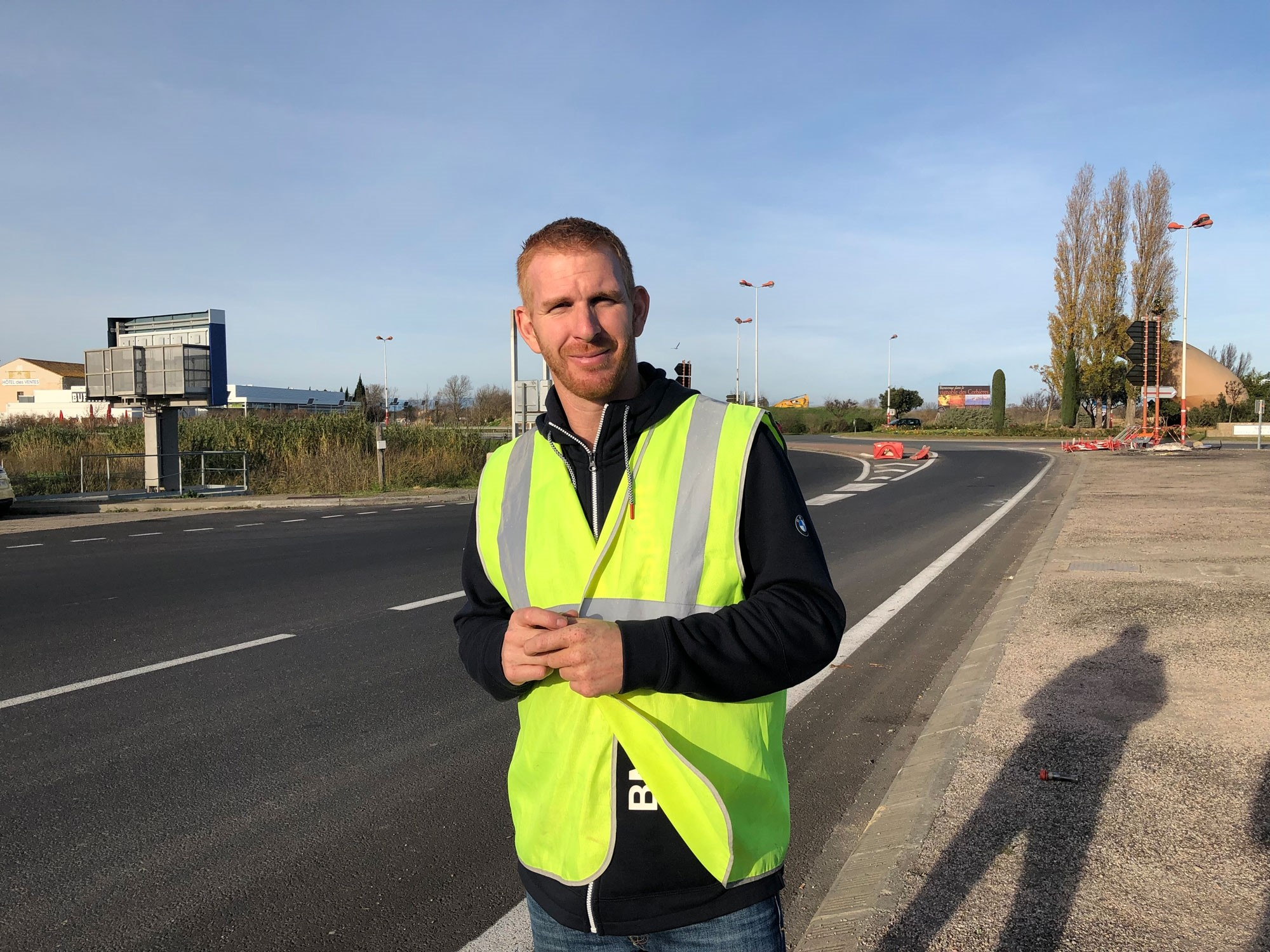 Ghislain Coutard, the u201cvestmanu201d on a highway while trying to gather signatures for a proposed referendum (Photographs taken by Emre Bau015faran)