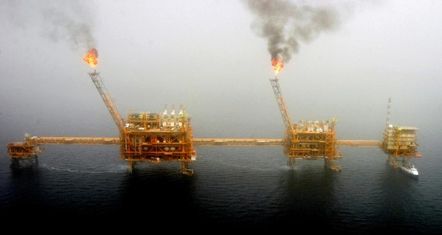 Gas flares from an oil production platform at the Soroush oil fields in the Persian Gulf, south of the capital Tehran.