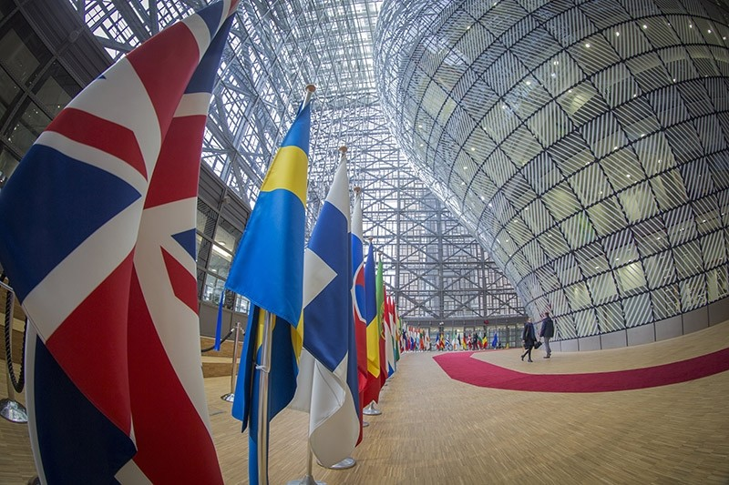 A fisheye photograph of the British Union flag near the Red carpet in the Europa council building's atrium in Brussels, Belgium, 08 March 2017. (EPA Photo)