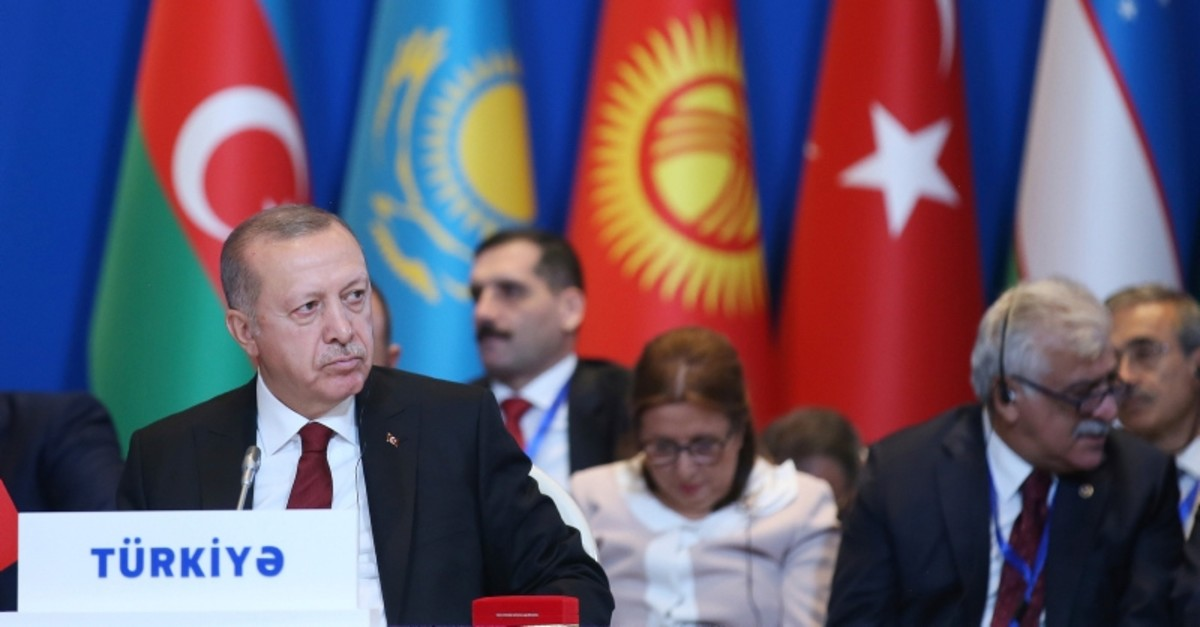 President Recep Tayyip Erdou011fan attended the 7th Summit of the Cooperation Council of Turkic Speaking States, Baku, Azerbaijan, Oct. 15, 2019. (AP Photo)