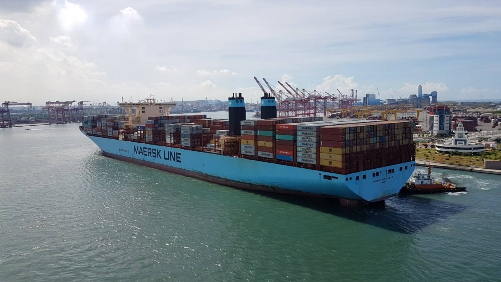 A Maersk Line container ship arrives at Kaohsiung Harbour in Kaohsiung, Taiwan.