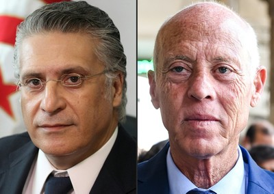 This combination of file pictures shows Nabil Karoui (L) and Kais Saied. (AFP Photo)