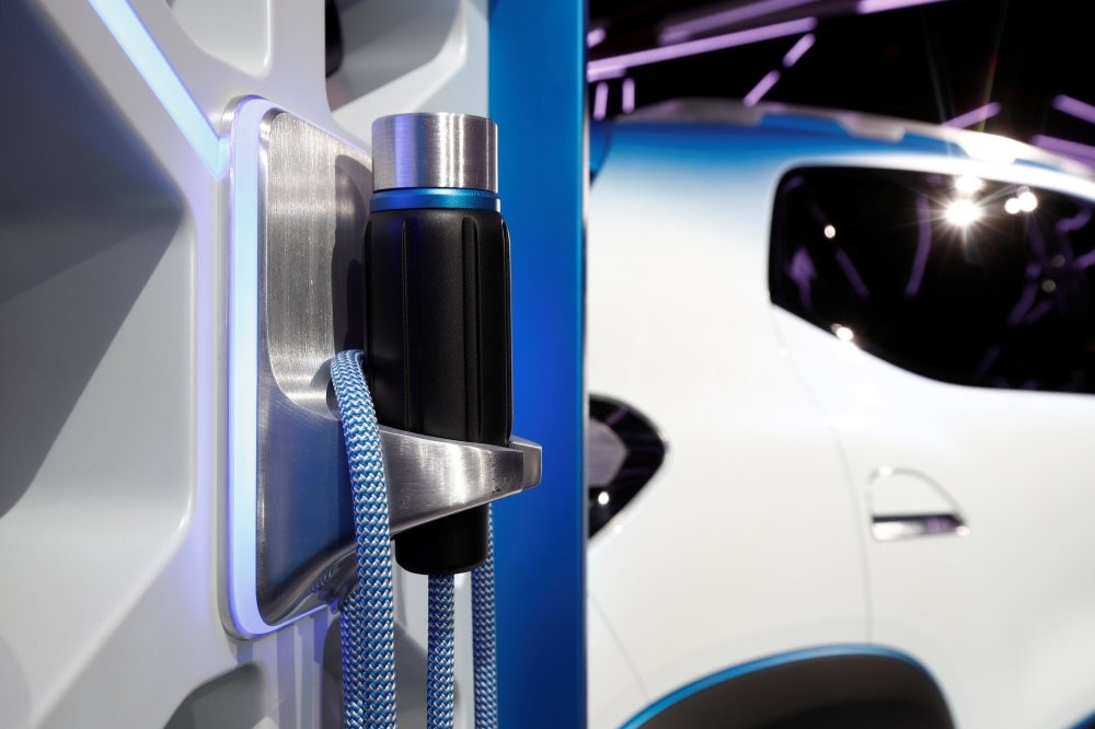 The charging plug of the electric show car Renault K-ZE, is pictured after its launch at the opening of the Paris auto show, Oct. 1.