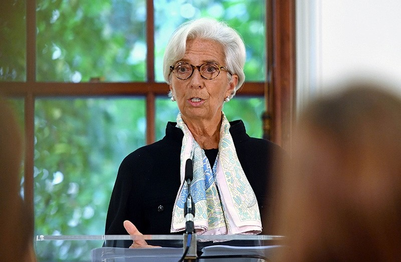 International Monetary Fund (IMF) managing director Christine Lagarde speaks at a press conference to mark the publication of the 2018 Article IV assessment of the United Kingdom at the Treasury in central London on Sept. 17, 2018. (AFP Photo)