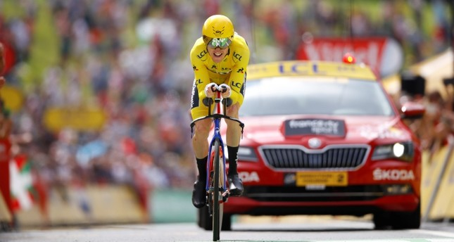 Team Sky rider Geraint Thomas of Britain in action during the 20th stage of the 105th edition of the Tour de France cycling race over 31km, France, 28 July 2018.  (EPA Photo)