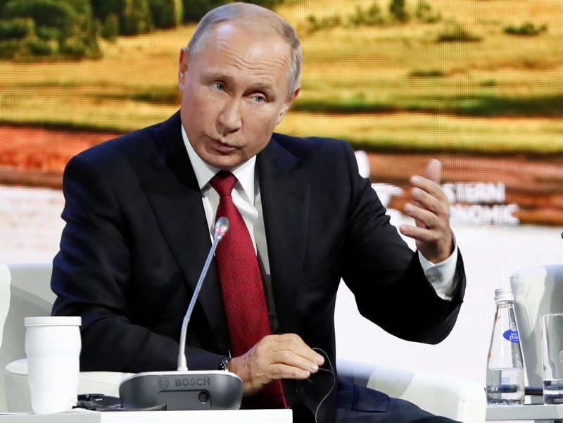 Russian President Vladimir Putin gestures as he speaks during a plenary session at the Eastern Economic Forum in Vladivostok, Russia, Wednesday, Sept. 12, 2018. (AP Photo)