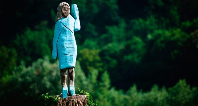 A picture taken on July 5, 2019 shows what conceptual artist Ales 'Maxi' Zupevc claims is the first ever monument of Melania Trump, set in the fields near town of Sevnica, U.S. First Lady's hometown. (AFP Photo)