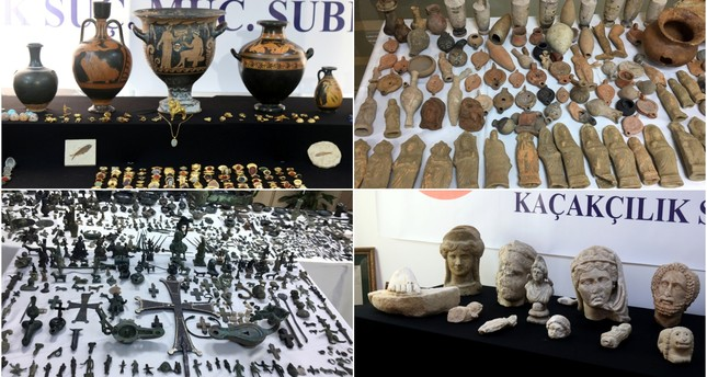 14,000 historical pieces and bags full of foreign currency were recovered in the raids. (AA & IHA Photos)