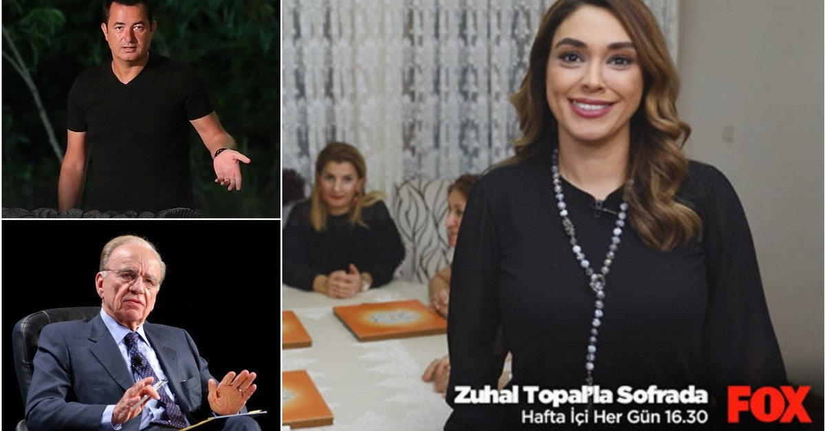 Top L: Acun Ilu0131calu0131; bottom L: Rupert Murdoch; R: Zuhal Topal on Fox TV's Sofrada. (Sabah/ Gu00fcnaydu0131n/ Takvim file photos)