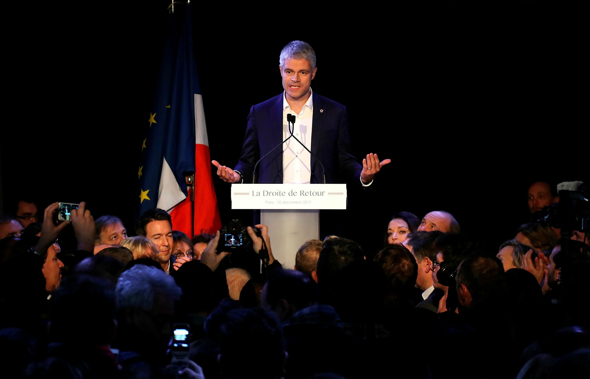 French right-wing Les Ru00e9publicains (LR) party's newly-elected President, Laurent Wauquiez reacts after the results' announcement on December 10, 2017 at le Tripot Regnier bar in Paris. (AFP Photo)