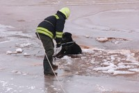 Dog rescued after falling into frozen-over lake