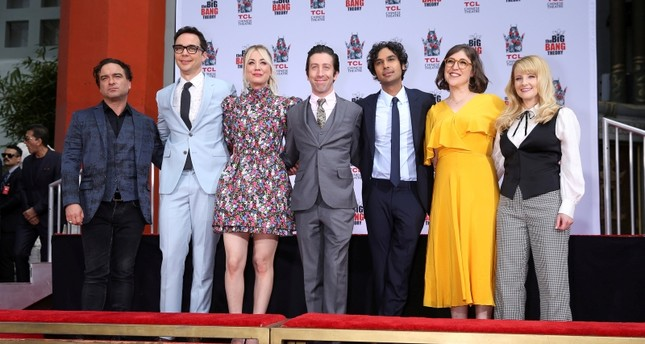Johnny Galecki, Jim Parsons, Kaley Cuoco, Simon Helberg, Kunal Nayyar, Mayim Bialik and Melissa Rauch participate in the cement handprints ceremony for The Big Bang Theory at the TCL Chinese Theatre IMAX in Hollywood, May 1, 2019. (REUTERS Photo)