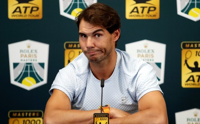 Rafael Nadal of Spain talks to media as he announces his withdraw from the Paris Masters tennis tournament at the Bercy Arena in Paris, France, Wednesday, Oct. 31, 2018. (AP Photo)