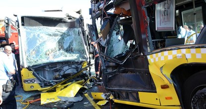 pTwo metrobuses collided head-on in Istanbul Sunday, killing one of the drivers and injuring 29 people, including two in critical condition./p