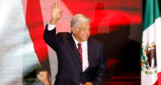 Andres Manuel Lopez Obrador gestures as he addresses supporters after polls closed in the presidential election, in Mexico City, Mexico, July 1, 2018. (Reuters Photo)