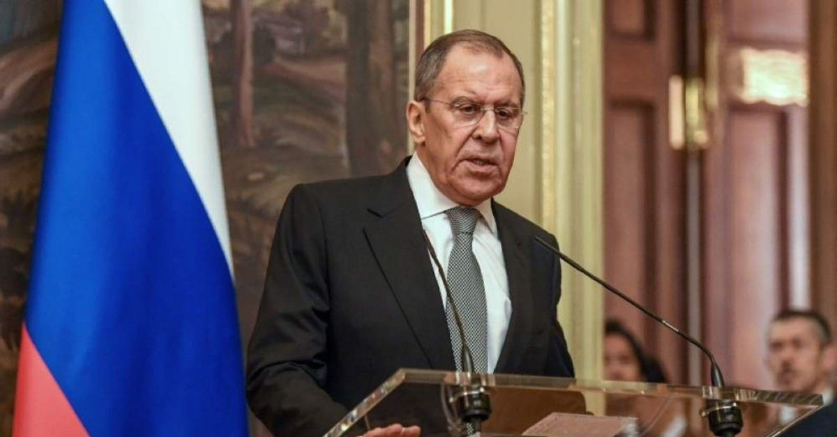 Russian Foreign Minister Sergey Lavrov addresses a news conference after his meeting with the Japanese Foreign Minister in Moscow on Dec. 19, 2019. (AFP Photo)
