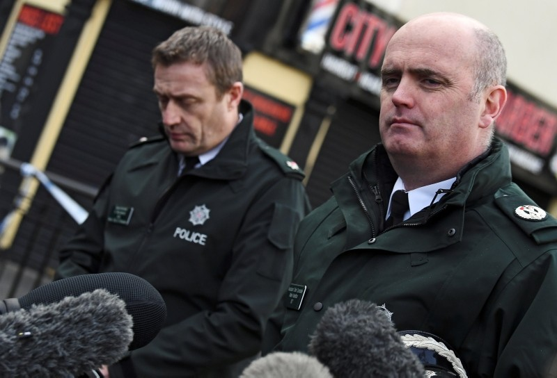Police Superintendent Gordon McCalmont (L) and Assistant Chief Constable Mark Hamilton give a statement about the suspected car bomb in Londonderry, Northern Ireland January 20, 2019. (REUTERS Photo)