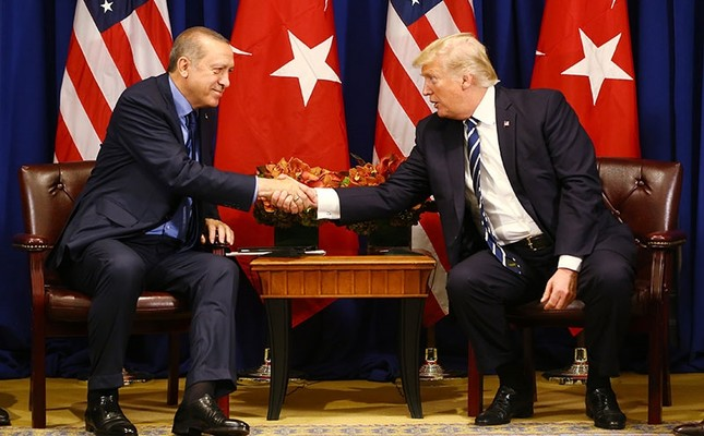 President Recep Tayyip Erdoğan and his U.S. counterpart Donald Trump shake hands at the Palace Hotel during the United Nations General Assembly, Thursday, Sept. 21, 2017, in New York. AP Photo