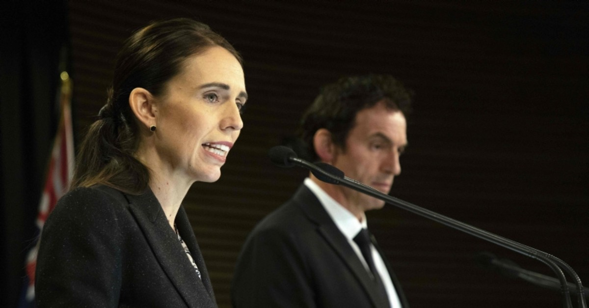 New Zealand's Prime Minister Jacinda Ardern, left, speaks during a joint press conference with Police Minister Stuart Nash at the Parliament House in Wellington, New Zealand, March 21, 2019. (AFP Photo)