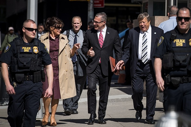 Amalija and Viktor Knavs, parents of U.S. First Lady Melania Trump, arrive with their lawyer Michael Wildes (C) at U.S. Citizenship and Immigration Services at the Jacob K. Javits Federal Building, May 2, 2018 in New York City. (AFP Photo)