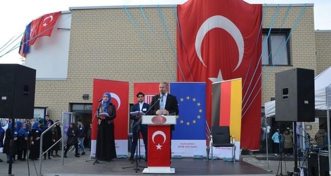 من احتفالية افتتاح المسجد (الأناضول)