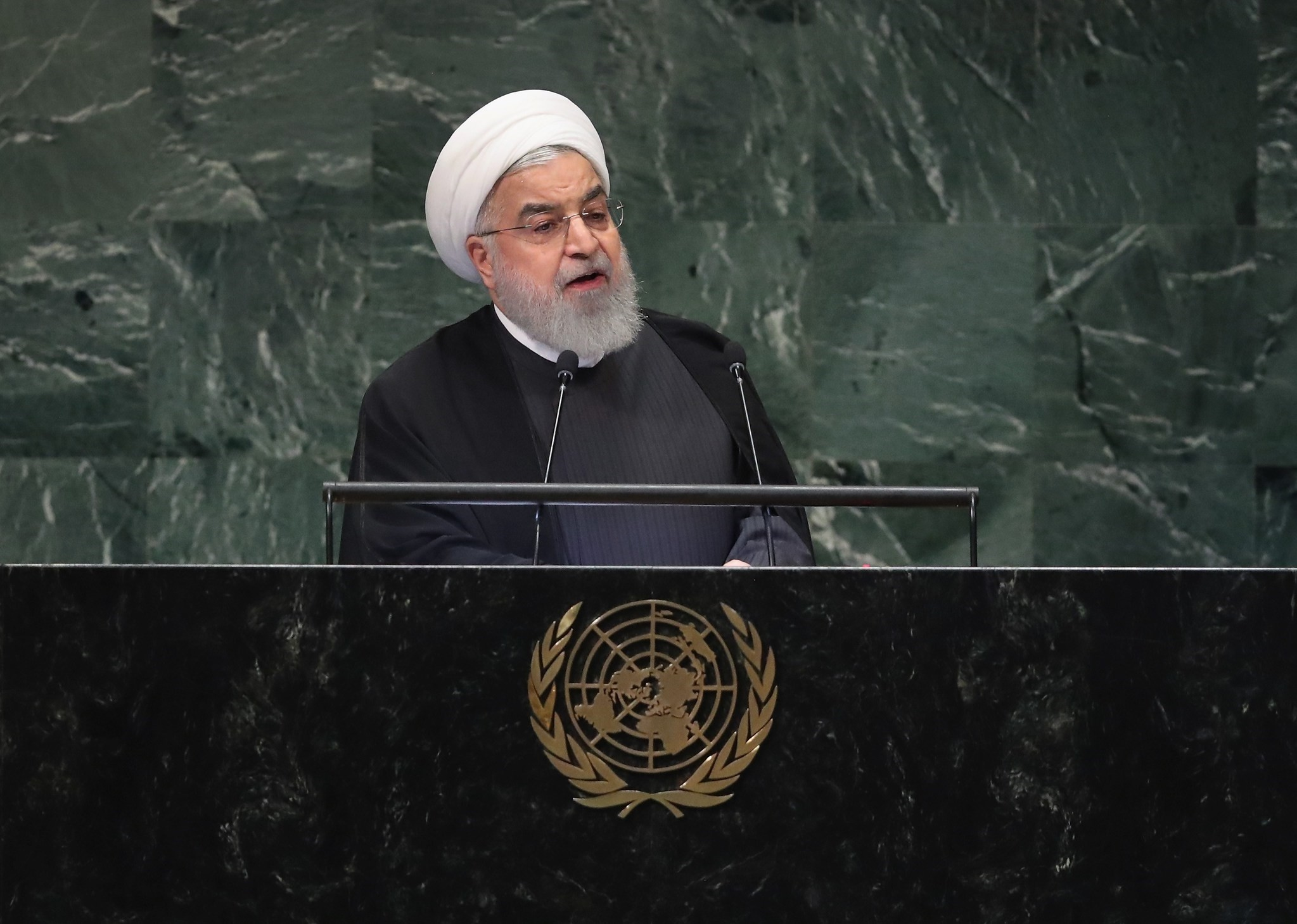 President of Iran Hassan Rouhani addresses the United Nations General Assembly on September 25, 2018 in New York City. (AFP Photo)