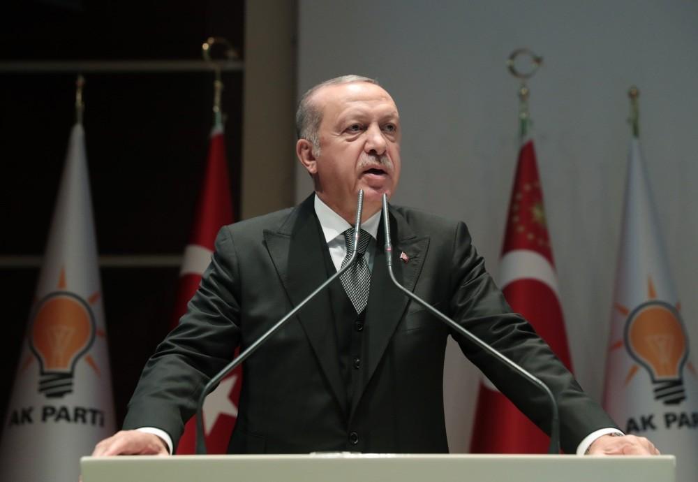 President Recep Tayyip Erdou011fan speaks at the AK Party Women's Branch Education Program in Ankara, yesterday.