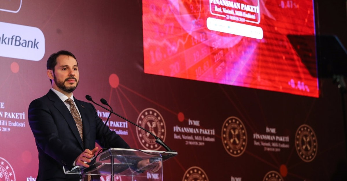 Treasury and Finance Minister Berat Albayrak announces the u0130VME (advanced, productive, indigenous, industry) Finance Package in Istanbul, May 23, 2019.