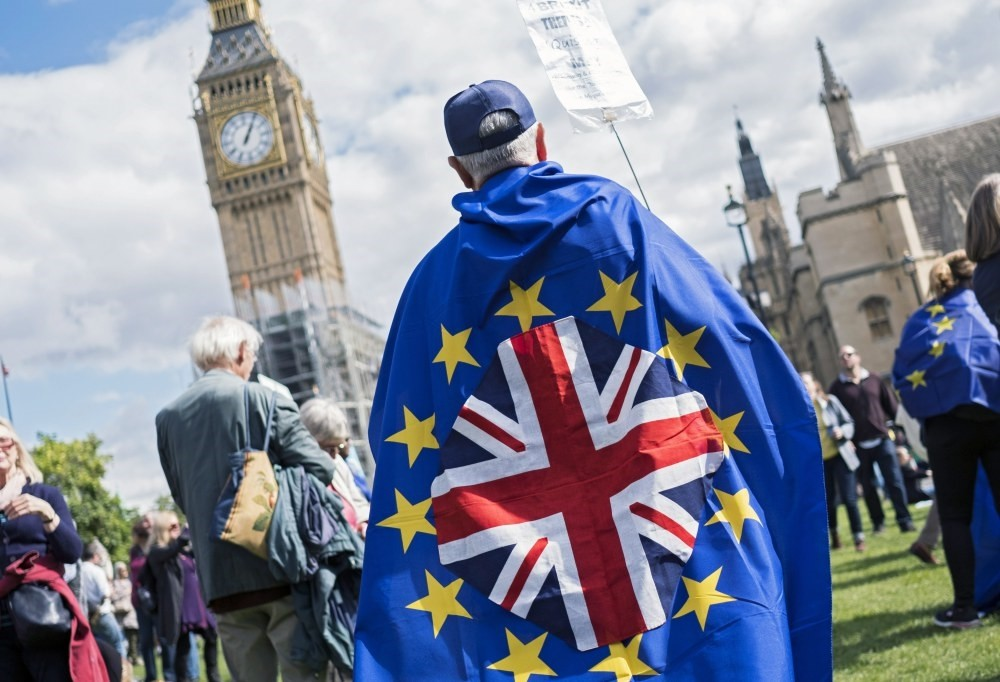 Pro-EU demonstrators gather in Parliament Square in London, Sept. 9, 2017.