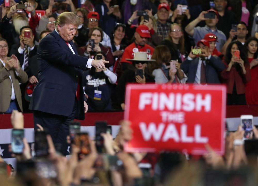 U.S. President Donald Trump attends a rally at the El Paso County Coliseum, El Paso, Texas, Feb. 11, 2019.