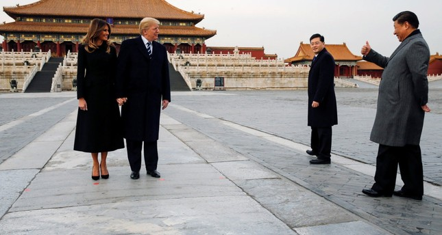 President Trump and first lady Melania Trump visit the Forbidden City with Chinese President Xi Jinping, Beijing, China, Nov. 8.