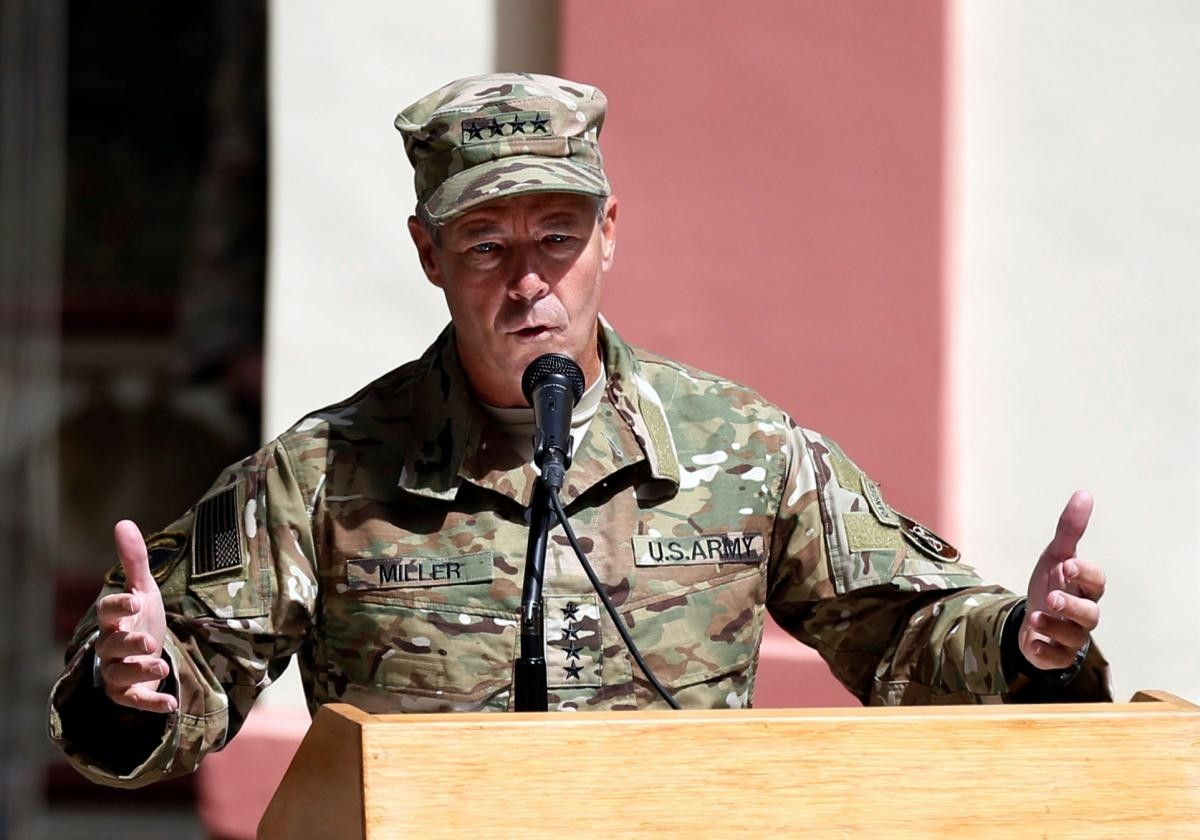 U.S. Army General Scott Miller speaks during a change of command ceremony in Resolute Support headquarters in Kabul, Afghanistan September 2, 2018. (Reuters Photo)