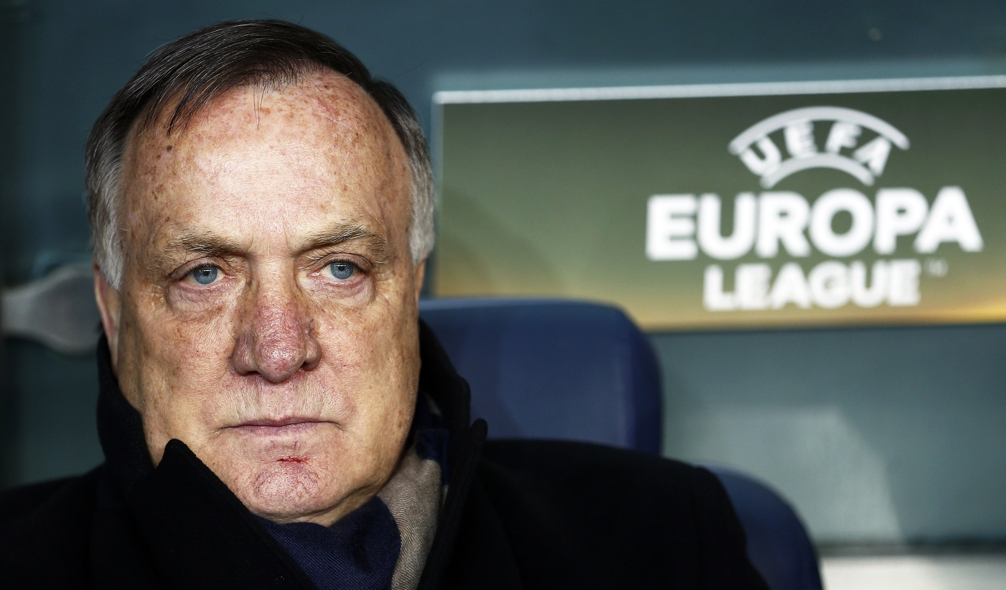 Fenerbahce's head coach Dick Advocaat during the UEFA Europa League round of 32, second leg soccer match between Fenerbahce Istanbul and FK Krasnodar. (EPA Photo)