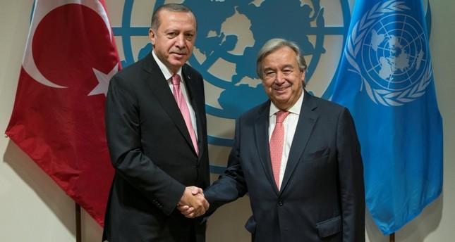 President Recep Tayyip Erdogan meets with United Nations Secretary-General Antonio Guterres on the sidelines of the 72nd United Nations General Assembly at U.N. Headquarters in Manhattan, New York, U.S., September 19, 2017. (REUTERS Photo)