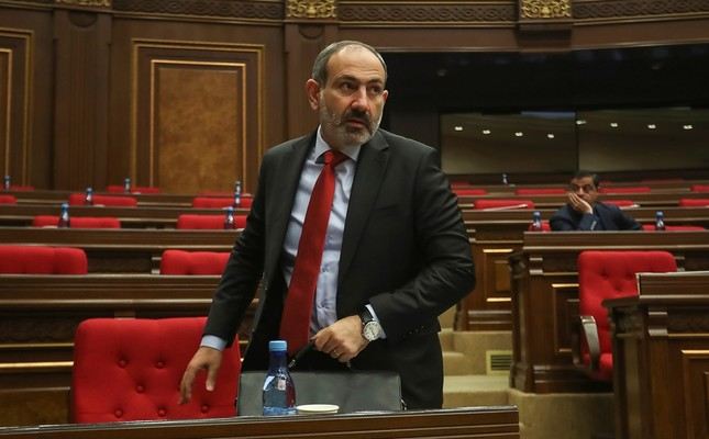 This file photo shows Armenian acting Prime Minister Nikol Pashinyan attending a parliament session in Yerevan, Armenia November 1, 2018. (Reuters Photo)