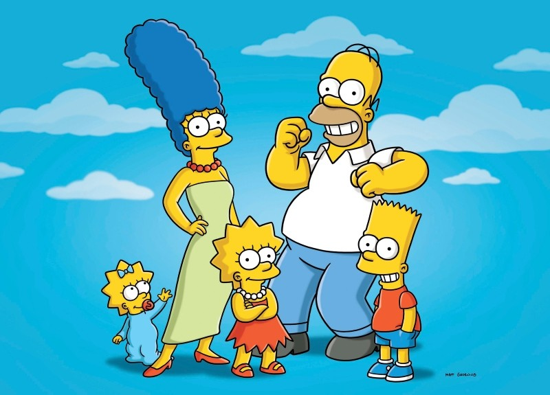 This undated publicity photo released by Fox, shows, from left, from left, Maggie, Marge, Lisa, Homer and Bart  from the animated series, ,The Simpsons, (AP Photo/Fox)